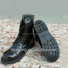 Completa- de grano de la vaca cuero botas militares, de buena calidad, suela de goma botas