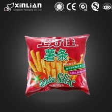 plastic custom printed back seal snack packaging bag/crisp plastic packaging pouc/chips packaging bag