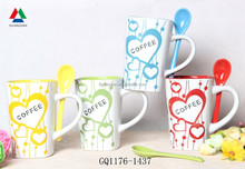 High quality color inside ceramic coffee mug ceramic mug with spoon