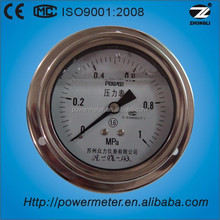 80mm back entry with flange shock proof stainless steel pressure gauge with oil filled
