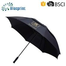 Two-tier Black Fiberglass Promotion Mens Golf Umbrella Large