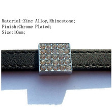 2015 DIY Rhinestone 10mm Square Beads Slide Charms Popular Jewelry
