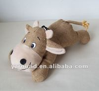 Quality linen stuffed plush patten cow animal dog pets