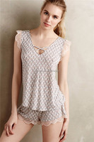 Women leisure frill sleeve V-neck two piece set home clothes, rayon pyjamas SYA15273