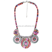 New Arrive Fabric Material Handmade Vintage Statement Necklace