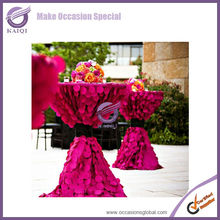 #19785 raspberry elegant disposable chameleon taffeta high bar cocktail table cloth for wedding