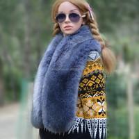 luxury faux fur neck scraf women comfortable muffler winter outdoor cappa long faux fur shawl