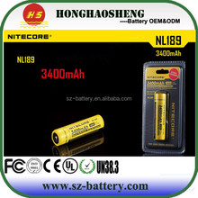 High quality Nitecore li-ion battery 3400mah 3.7v battery sell for Nitecore battery charger