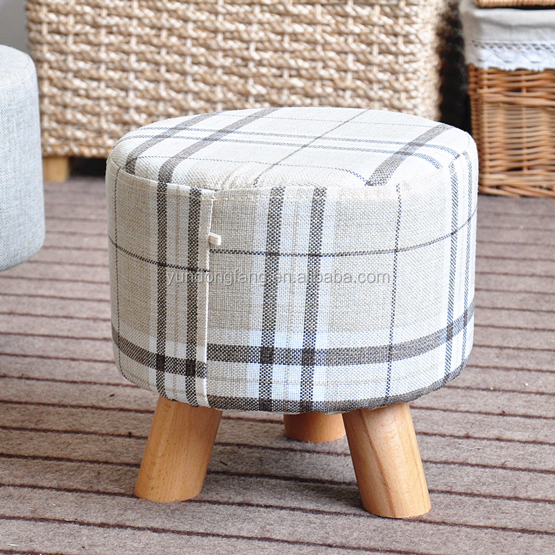 wooden frame print fabric covered colorful storage ottoman
