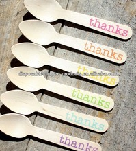 Boutique Party Supplies Partyware SMALL Wooden Spoons with thanks Rainbow Colors Eco-friendly Cupcake or Ice Cream Spoons