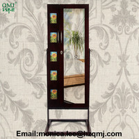 chinese full-length wooden standing mirror jewelry cabinet