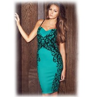 Cheap Turquoise Sweetheart Neckline Flocked Midi Cocktail Summer Party Dresses Online