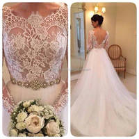 (MY2467) Marry You Sexy Long Sleeve A-line Dress See Thruogh Corset Lace Bodice Wedding Dress 2016