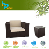 Cubic Rattan Outdoor Furniture Wicker Garden Single Sofa with Side Table Patio Chair Wholesale