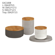 Natural color concrete /cement home decoration candle holder with wooden lid designed from manufacture