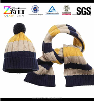 Color Stripe Gloves Hat And Scarf Set,Pompom Hat Gloves And Scarf Set,Knitted Hat Scarf Glove Set