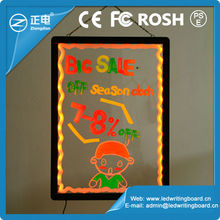 New invention 2015 transparent sparkle advertising board rewritable by fluorescent marker pen