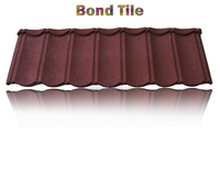 Environment friendly flat roof tile stone coated steel roof tile, Bond tiles, stone coated metal roofing tile