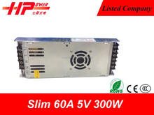 Ultra thin series AC to DC constant voltage single output smps 300w 60 ampere 5 volt 12v led switching mode dc power supply