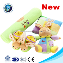 2015 Top selling cheap organic cotton baby blanket set with plush green rabbit cute soft bamboo baby blanket