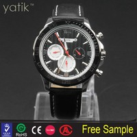 China Gold Supplier king quartz chronograph luxury watch best selling genuine leather watch