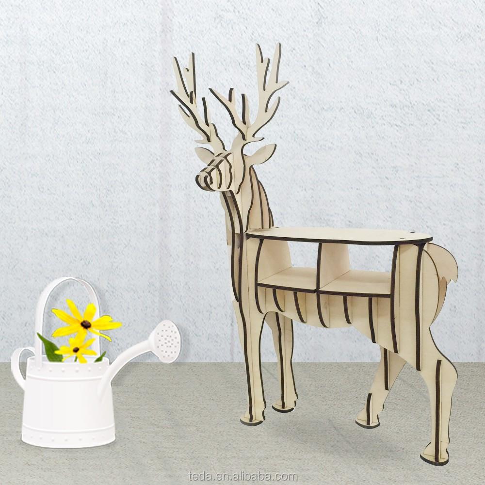 wholesale DIY wood carving craft decoration reindeer of Mini Wood ReinDeer Bookself (10)
