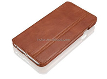 Head layer genuine booklet full grain cowhide leather card slot case for iPhone6