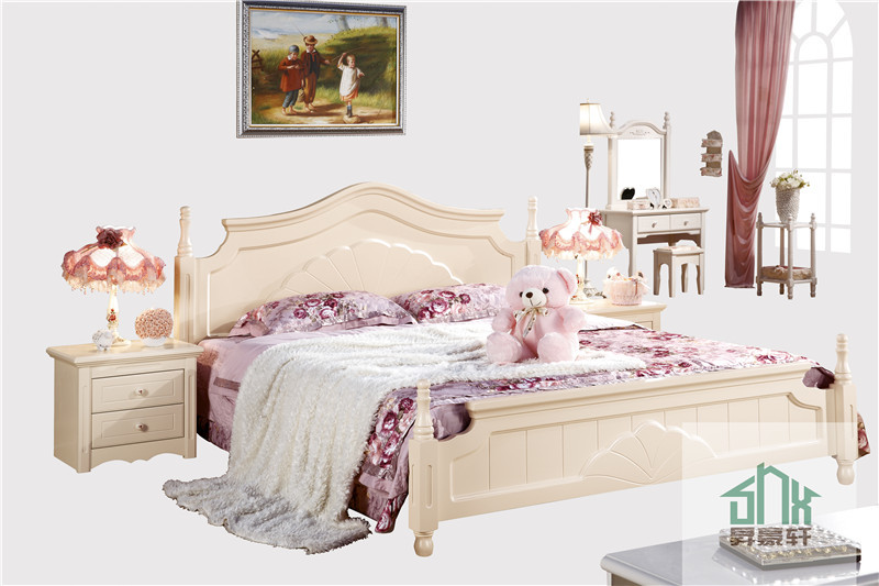 Latest wood bed design ha 825 cot bed wood furniture for Double cot designs