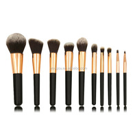mask makeup brush two tone synthetic hair brush set 10pcs gloss black handle