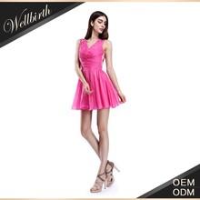 2015 hot sale V-neck sleeveless rose red short puffy cocktail dresses
