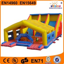 WINSUN factory price PVC inflatable slide with play house for sale