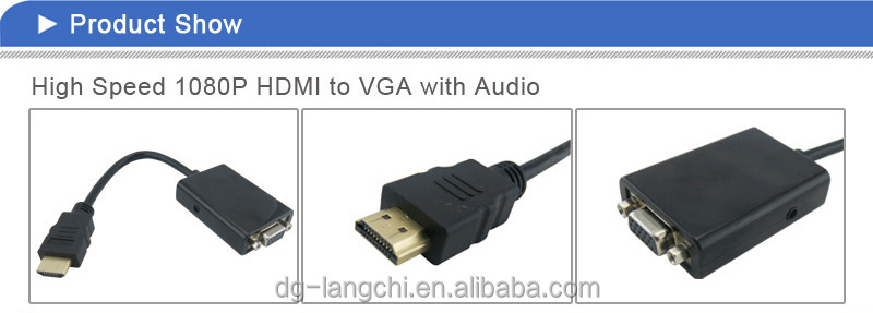 OEM ODM Cheap hdmi to vga + rca x 3 cable converter 1080p