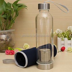 Universal BPA Free Glass Sport Water Bottle with Tea Filter Infuser Protective Bag 550ml Fruit Outdoor Eco-Friendly