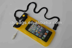 Triple ziplock PVC phone waterproof pouch with earphone jack