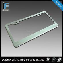 Custom US standard stainless steel mirrored chrome finish blank car license plate frame & holder