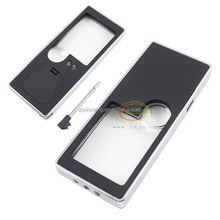 Hot sell!! portable magnification with 5 LED double lens and a pen