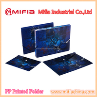PP hard cover a4 size plastic pockets file folders with printing for school office stationery