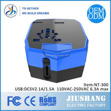 1A/2.1A fast charing universal travel adapter with 2 usb ports(one usb for iOS, another one for Android)