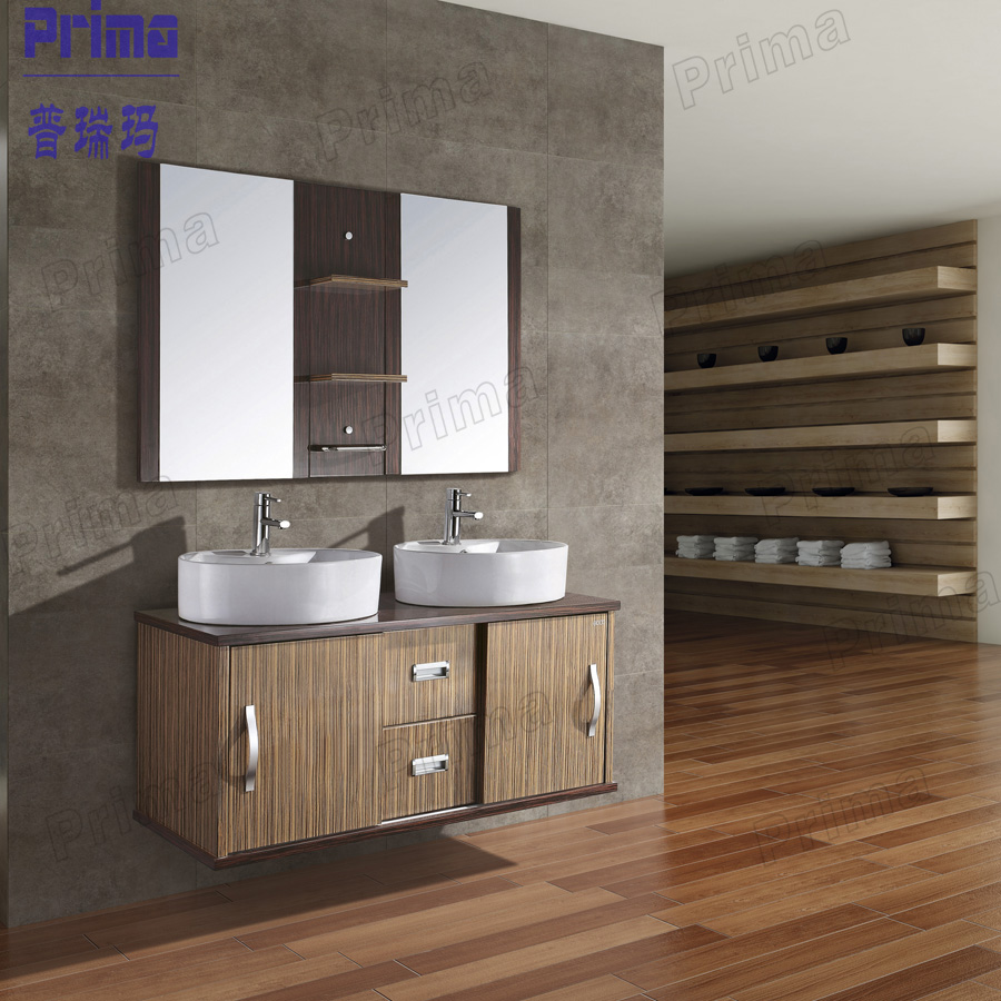 Stainless Steel Sink Counter Combo : Stainless steel double sink modern solid wood bathroom vanity cabinet ...