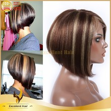 100% human hair wigs no tangle and shedding free hight light color bob lace wigs gray hair lace wig
