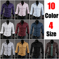 New special solid wild 10-color men's casual long-sleeved shirt 592