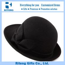 Cheap bulk sale black bowknot flower fedora wool hat