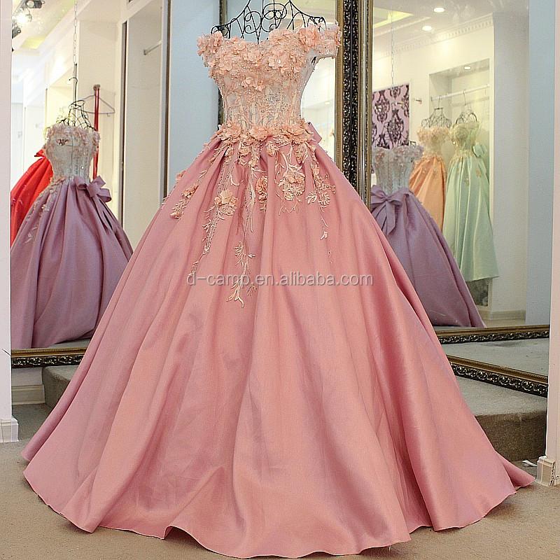 WD120 nueva llegada Rosa Flores appliqued árabe vestidos de novia de ...