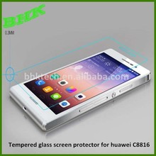 high definition waterproof tempered glass screen protector for huawei C8816,clear screen protector