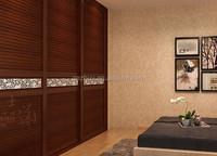 3 panel louvered wooden wardrobe cabinet closet sliding doors