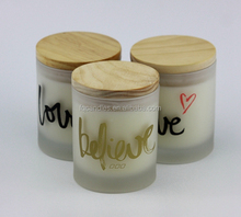 2015 wholesale luxury scented soy candle in glass jar with wood lid