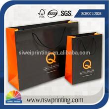 personalizada impresa brillante de laminación de papel bolsa de compras para venta al por mayor de prendas de vestir