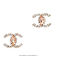 Pave Stud Light Peach Ornaments Double C Earrings For Daily Life