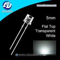 high quality led diode flat top water clear flat 5mm white led flat
