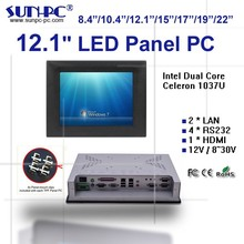 12 inch industrial touchsceen panel pc, dual core 1037U rugged all in one pc computer, 1024*768 high resolution, 4COM/4USB